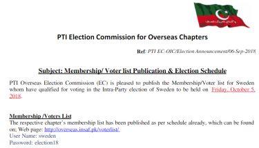 پاکستان تحریک انصاف سویڈن کی ووٹر لسٹ جاری