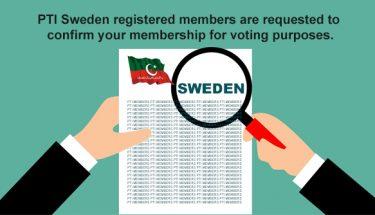 پی ٹی آئی سویڈن انٹرا پارٹی الیکشن، اپنی رکنیت کی تصدیق کروائیں