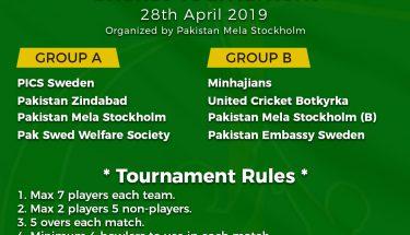 پاکستان میلہ کمیٹی نے کرکٹ ٹورنامنٹ میں حصہ لینے والی ٹیمیوں کی لسٹ جاری کردی