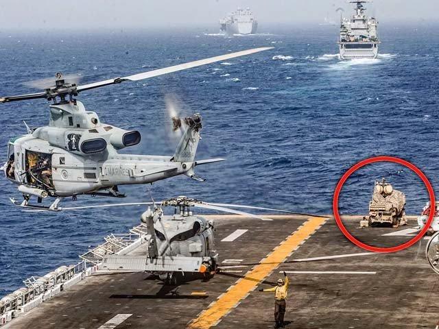 آبنائے ہرمز پر امریکی بحری بیڑے پر 'اینٹی ڈرون بگھی' گول دائرے میں دکھائی دے رہی ہے۔ فوٹو : پینٹاگون